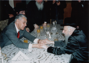 Earl Cox meeting with the Grand Rebbe of Seret Vishnitz in the Rebbe's home near Haifa, Israel.