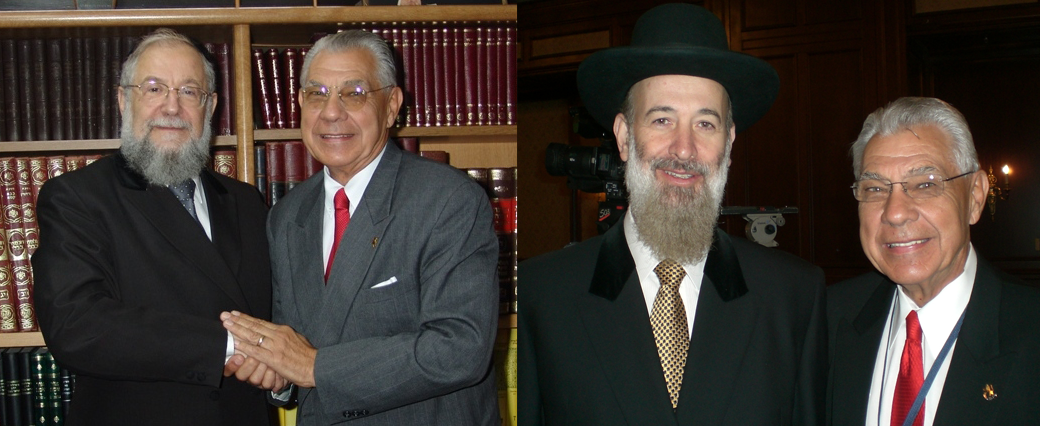 Earl Cox with two former Chief Rabbis of Israel, Rabbi Meir Lau and Rabbi Yona Metzger